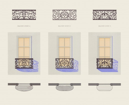 Wrought iron balcony design and shadow study: digital rendering<br />