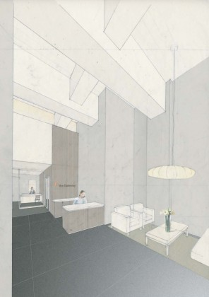Commercial lobby interior perspective: mixed media<br />
