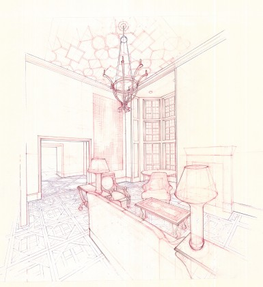 Living room interior perspective: hand-drafted red + blue pencil on trace <br />