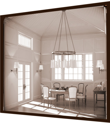 Breakfast room interior perspective: digital rendering<br />
