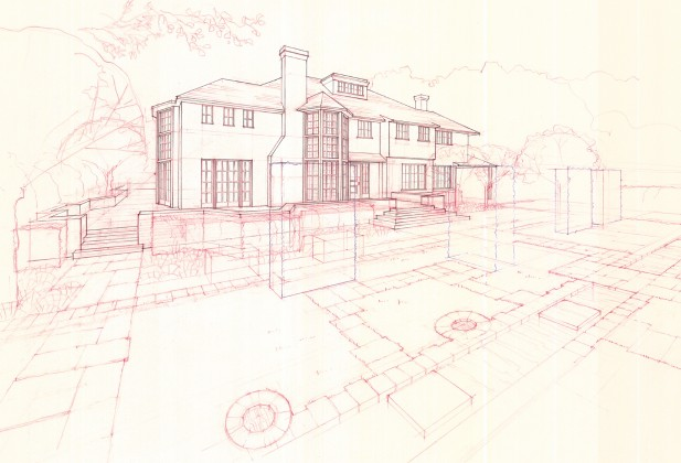 Residential façade study in Palo Alto: hand-drafted red + blue pencil on trace<br />