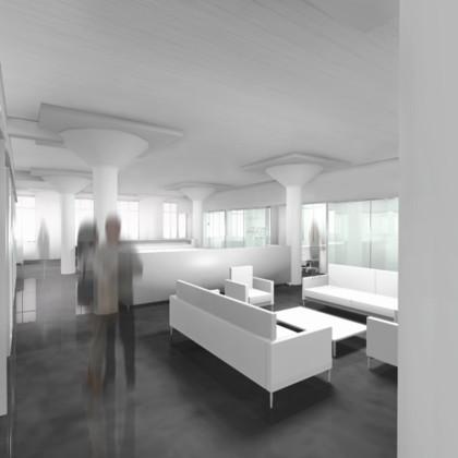 Film editing studio interior perspective: digital rendering<br /> <br /><small></small>