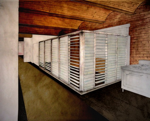 Loft renovation interior perspective: mixed media on paper<br /> <br /><small></small>