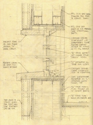 Window section detail study: pencil on trace<br /> <br /><small></small>