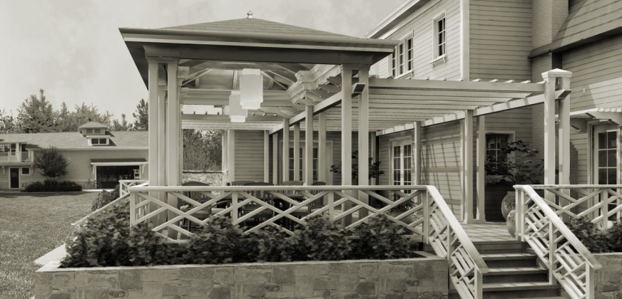 Pergola and dining pavilion in Atherton: digital rendering<br /> <br /><small></small>