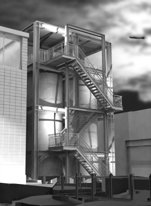 Commercial fermentation tanks and supporting structure: digital rendering<br /> <br /><small></small>