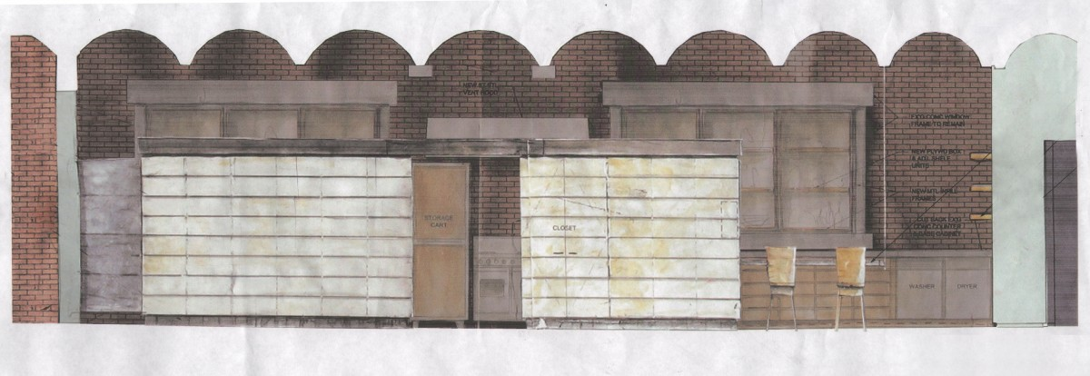 Elevation study for loft renovation: mixed media on paper<br /> <br /><small></small>